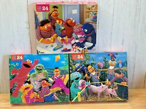 LOT of 3 Vintage 1995 Milton Bradley Sesame Street 24 Piece Jigsaw Puzzles