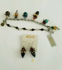 """New Ollipop Double Row 7"""" Bracelet with Large Crystal & Stone Charms"""