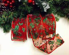 Verde Blanco y Dorado Holly Navidad arco de la cinta Regalo Con Cable Pastel Wrap árbol
