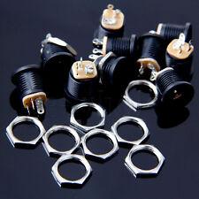 10 Pieces DC022 2.1x5.5mm PCB Mounting DC Power Jack Socket Black TW