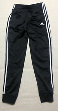 Boys Size L 14/16 Adidas Black/White Three Stripe Joggers Pants Pre-owned