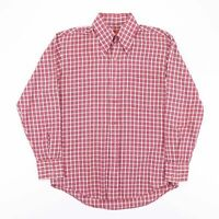 Vintage 70's Style Crazy Red Check Dagger Collar Shirt Size Mens Medium