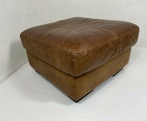 Aged Tanned Cigar Brown Leather Footstool
