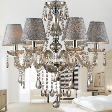 Fixture Ceiling Light Lighting Crystal Pendant Chandelier Lamp w/ Shade & Bulb