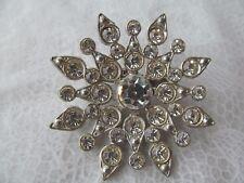 crystal rhinestones in starburst pattern Large Vintage brooch composed of large