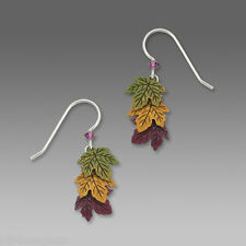 Sienna Sky Green Gold Rust LEAF EARRINGS STERLING Silver Autumn Fall Leaves 1442