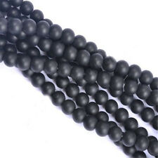 DIY Jewelry 30pcs Natural Gemstone Stone Matte Black Onyx Round Beads 6mm