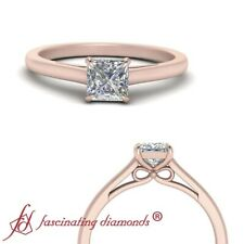 .75 Carat Princess Cut Diamond Rose Gold Solitaire Bow Engagement Ring For Women