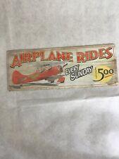 Airplane Plane Rides Retro Art Wall Decor Metal Sign