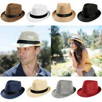 Men Women Unisex Fedora Hat Trilby Straw Cap Sun Hat Beach Summer Sunhat