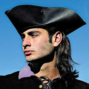BUCCANEER Captain Jack PIRATE Sparrow Dark Brown LEATHER TRICORN HAT S/M L/XL