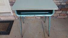 Vtg. Turquoise Industrial Mid-Century Student School Metal Desk Adjustable Legs