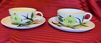 DIXIE DOGWOOD JONI STETSON POTTERY HAND PAINTED Two (2) Cups & (2) Saucers 6""