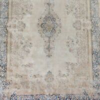 Antique Geometric Pale Ivory Kirman Distressed Area Rug Evenly Low Pile 10'x13'