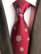 New Classic Red White Snow Christmas Gift JACQUARD WOVEN Silk Men's Tie Necktie