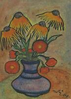 Monogrammiert WE datiert 64 - Stillleben mit Sonnenblumen und Mohnblumen