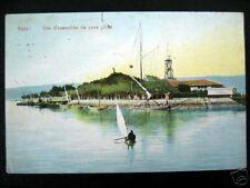 Suez~1910 Suez~Vue d'ensemble du terre plein~Sailboat~