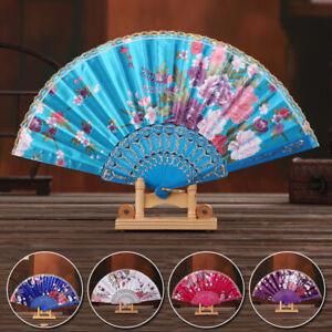 Folding Fan Silk Hand Fans Chinese Floral Pattern Fan Wedding Party Dance Fans