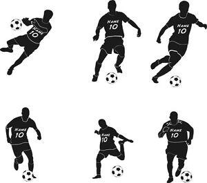 Wandtattoo Fussballer mit Namen Nummer Kinderzimmer 6 Motive zur Auswahl WFB06