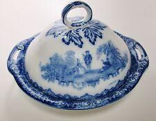 ROYAL DOULTON Burslem Flow Blue Watteau Pattern Tureen or Serving Dish c.1891-02