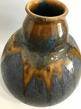 XL Studio Keramik Vase 32cm Lauf-/Kristallglasur Art Pottery signed TS