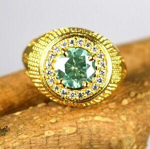 4.29 Ct Round Green 925 Sterling Silver Diamond Solitaire Men's Designer Ring