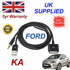 Ford Ka 1529487 Para Apple 3gs 4 4s Iphone Ipod Usb Y 3.5 mm Cable Aux Negro