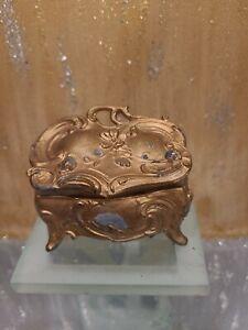 Antique Victorian Art Nouveau Gold Ormolu Metal Jewelry Casket Trinket Box