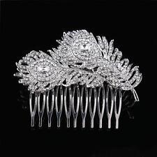 Wedding Bridal Hair Accessories Diamante CZ Crystal Peacock Feathers Hair Comb