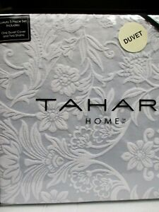 TAHARI 3pc Woven Jacquard Floral Pale Blue White Duvet Set - Full/Queen