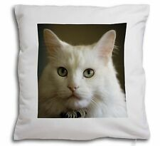 Gorgeous White Cat Soft Velvet Feel Cushion Cover With Inner Pillow, AC-79-CPW