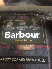 Barbour Mens Jacket Classic Tartan Size L Navy Waterproof & Breathable
