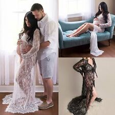 Maternity Maxi Gown Pregnant Women Lace Dress Photography Photo Props Clothes
