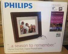 """*New* Philips 8"""" Digital Photo Frame (Brown wood frame) Stores 1000 Photos"""