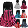 Women Vintage Bodycon Long Sleeve O Neck Evening Print Party Prom Swing Dress P