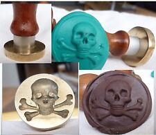 Waxs  Seal masonic  bone skull stamp brass memento mori