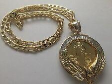 San Judas y Virgen de Guadalupe Centenario Oro Laminado Medalla Cadena Aguila