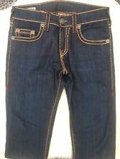 True Religion Geno Jeans Dark Denim Orange Maroon Stitch Rare 30 Relaxed Slim