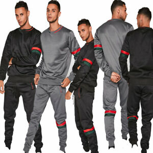 JYO Mens  Black and Grey Tracksuit with Red and Green Stripe Detail (TS2472_)