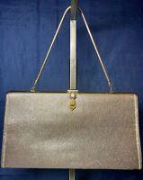 Vintage Rulo Creations Sparkling Metallic Gold Lame Clutch Evening Bag Purse Vtg