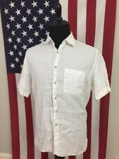 Joseph Abboud White Linen Shirt men's LARGE short sleeve Summer Hot Weather 7687