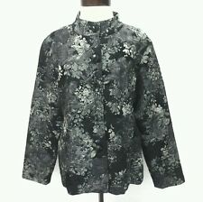 CHICOS Jacket Formal Black Floral Silver Metallic Dressy Blazer Sz 3/XL $159