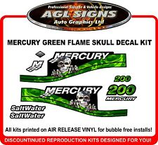 MERCURY 200 hp Saltwater Green Skull Flame Decals 115 150 175 200 225 250 hp