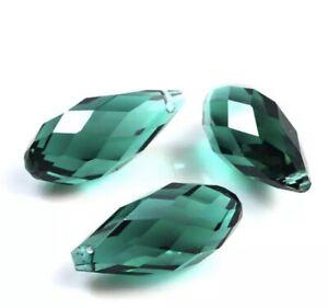5 Kristall Glas Tropfen 12x25mm Smaragd