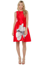 AKIRA BLACK LABEL OUTLINES FLORAL DRESS TOMATO RED SIZE SMALL
