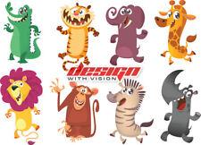 Animals Bedroom wall / toy box stickers Vinyl Monkey Tiger Zebra funny zoo