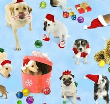 Elizabeth's Studio Holiday Friends Dogs & Puppies Novelty Cotton Fabric BTY