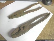 """2 Pair Unusual Old Pliers Tools  8"""" and 9&3/4"""" long"""