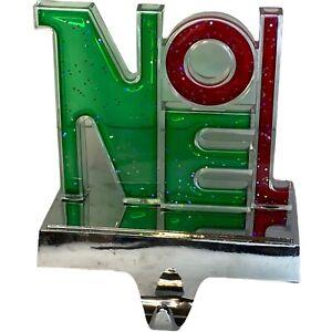 """NOEL Green Red Christmas Stocking Holder Hanger for Mantle 5"""""""