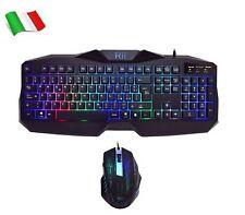 Rii Gaming RK400 - Set tastiera e mouse da gioco, retroilluminazione, cavo USB